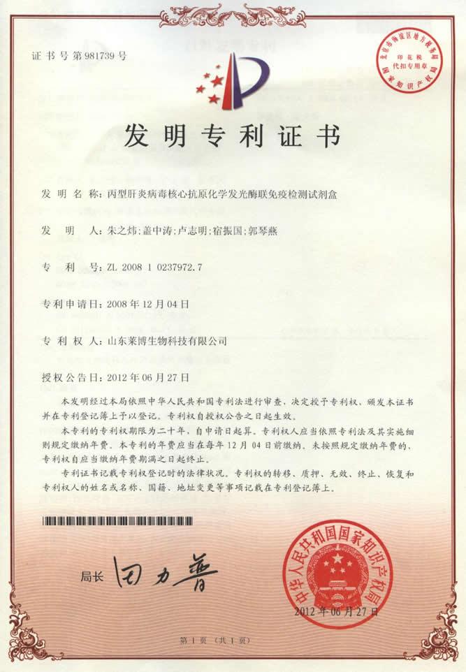 丙型肝炎病毒核心抗原检测试剂盒专利证书